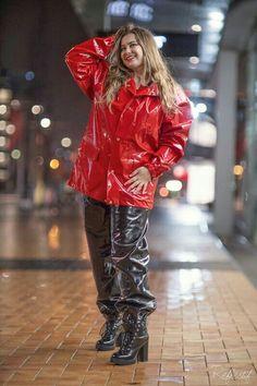 Vinyl Raincoat, Pvc Raincoat, Rain Bonnet, Vinyl Clothing, Rain Suit, Rain Wear, Red Riding Hood, Women Wear, Leather Jacket