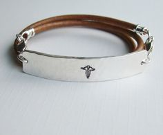 MEDICAL ALERT Exchangeable Leather Strap Sterling by CelticShore