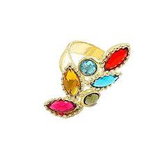 Multicolored gem ring
