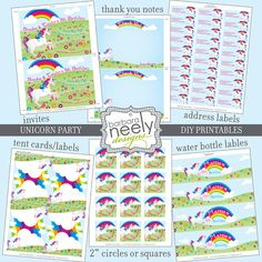 Unicorn DIY Printables Party Set by bndesigns on Etsy