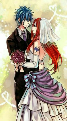 Fairy Tail - Jellal Fernandez and Erza Scarlet Fairy Tail Love, Fairy Tail Ships, Art Fairy Tail, Fairy Tail Amour, Anime Fairy Tail, Fairy Tail Guild, Fairy Tales, Nalu, Fairytail