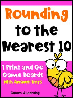 Rounding to the Nearest 10 Games Rounding Games, Rounding Numbers, Fourth Grade, Third Grade, Go Game, Games To Play, Board Games, Classroom, Printables