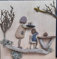 Pebble Stone, Pebble Art, Pebble Pictures, Cool Pictures, Shell Art, Driftwood Art, Rock Crafts, Wood Slices, Stone Painting