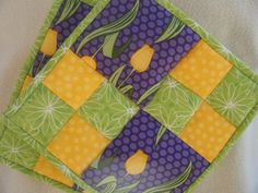 Yellow Tulip Quilted Potholders  Set of 2 by KraftyGrannysHome, $15.50