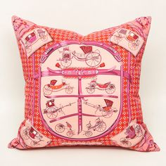 Hermes silk scarf pillow