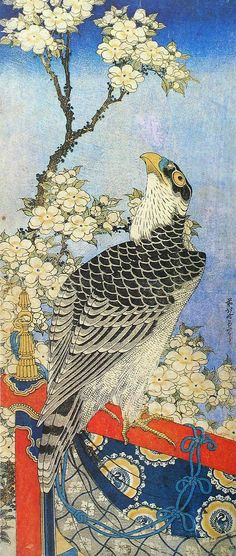 The hawk and cherry tree by Hokusai