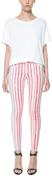 Zara Printed Trousers with Vertical Stripes - Lyst