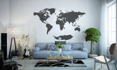 Hey Timmi, this would be cool on the wall in the study or library ;) ...you could put dots on all the places you've been!    137'' W World map wall decal map by WorldMaps on Etsy, $178.00