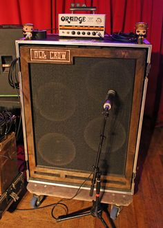 Armstrong has plenty of headroom with his Orange Terror Bass 1000 head. He plugs this holy terror into a custom Olde Crow cabinet. Murder By Death, Bass Amps, Woodworking Techniques, Guitar Amp, Rigs, Crow, Hillbilly, Cabinets, Instruments