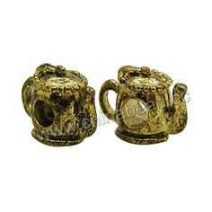 Metal Beads, Zinc alloy pandora bead, Antique gold plated, Teapot, Approx 14x8x11mm, Lead and cadmium free, Hole: Approx 4.5mm, 100pcs per bag, Sold by bags