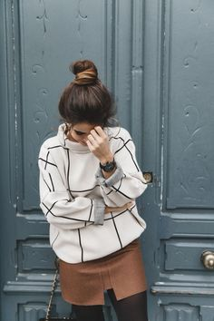 Checked_Sweater-Camel_Skirt-Chained_Booties-Chicwish-Collage_Vintage-Street_Style-Outfit-Mini_Skirt-Turtle_Neck-Hoop_Earrings-15