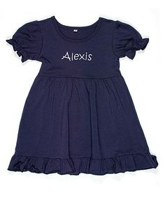 Navy Ruffle-Trim Personalized Dress - Infant, Toddler & Girls