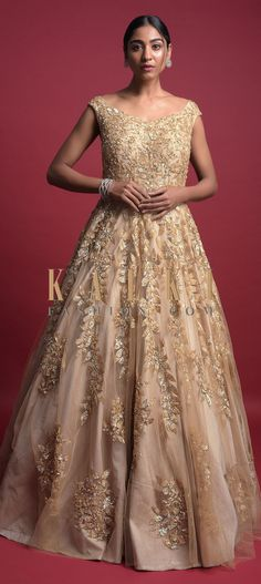 Buy Online from the link below. We ship worldwide (Free Shipping over US$100)  Click Anywhere to Tag Gold Beige Gown In Net With Sequins And Zari Embroidered Leaf Pattern Online - Kalki Fashion Gold beige gown in net with raw silk under layer.Accentuated with sequins and zari embroidered leaf pattern.Designed sleeveless with sweetheart neckline and U cut back. Indowestern Gowns, Reception Gown, Embroidered Leaves, Wedding Function, Gold Fashion, Anarkali, Bridal Gowns, Ball Gowns, Outfit Ideas