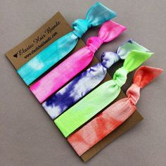 The Amelia Tie Dye Hair Tie Ponytail Holder Collection by Elastic Hair Bandz  on Etsy, $5.25