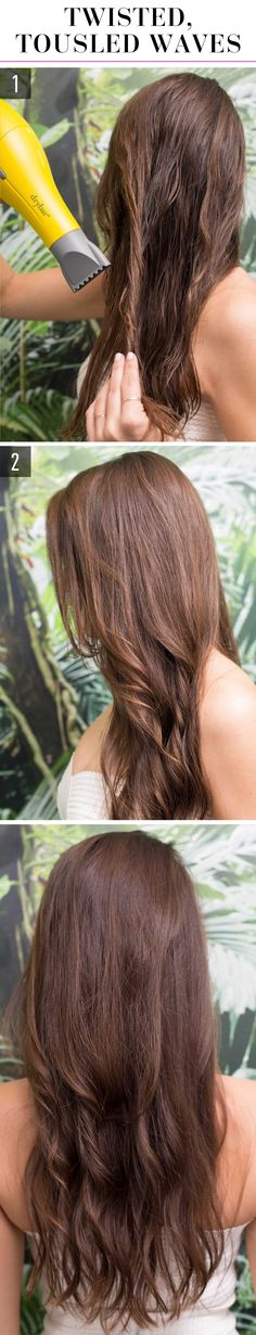 1.Twist sections of damp hair (make the sections large or small if you want looser or tighter waves, respectively) and blast with a blow-dryer, concentrating the heat downward so you don't ruffle the cuticle and cause frizz. 2.After your whole head is in dried twists, separate the tendrils with your fingers for messy, beachy waves.