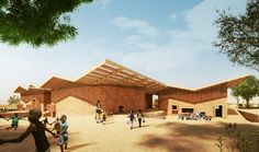 Image 1 of 7 from gallery of Francis Kéré Designs Education Campus for Mama Sarah Obama Foundation in Kenya © Kéré Architecture - architecture Education Architecture, School Architecture, Vernacular Architecture, Architecture Design, Francis Kere, Roof Extension, Steven Holl, Modern Buildings, Sustainable Architecture