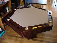 Mesa de poker Modelo hexagonal grande con posas Marca Galazzi