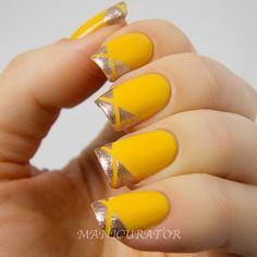 yellow nail art - silver geometric French tips
