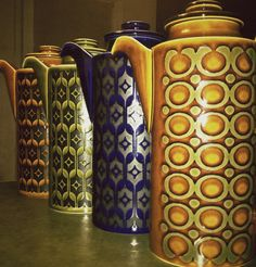 Hornsea coffee pots! Heirloom and Saffron patterns.