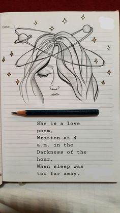 Ella es un poema de amor escrito a las 4 de la mañana en la oscuridad de la hor… She is a love poem written at 4 in the morning in the dark of the hour where the dream was too far Art Drawings Simple, Bullet Journal Art, Cool Art Drawings, Art Diary, Art Sketchbook, Art, Art Sketches, Art Journal, Book Art