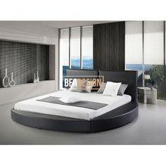 AHIGAL - Nowoczesne łóżko skórzane czarne - 180x200cm - ze stelażem
