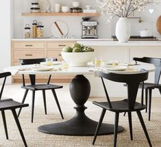 A striking mix of materials makes Chapman Marble Oval Dining Table a standout in a room. The veined white-marble top features a decorative lip along the rim and sits on a textured-bronze finished base. Round Pedestal Dining Table, Oval Coffee Tables, Oval Table, Black Round Dining Table, Oval Kitchen Table, Pedistal Table, Marble Dinning Table, Round Extendable Dining Table, Kitchen Ideas