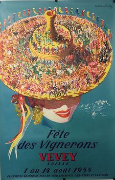 VAUD Fête des Vignerons Vevey 1955 affiche originale par Victor Rutz Vevey, Wine Festival, Travel Posters, Hats For Women, Vintage Posters, Illustrations Posters, The Selection, Europe, The Originals
