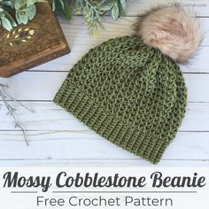 This crochet beanie pattern uses Cobblestone yarn from Lion Brand. The unique stitch, combined with this beautiful yarn, has so much wonderful texture! Crochet Buttons, Crochet Stitches, Crochet Hooks, Crocheted Hats, Dishcloth Crochet, Crochet Blankets, Crochet Scarves, All Free Crochet, Double Crochet