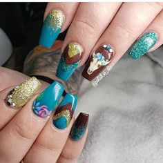 Amazing nails by in Redmond, OR! Amazing Nails, Glitter Acrylics, Nail Supply, Fun Nails, Nailart, Polish, Instagram, Color, Vitreous Enamel