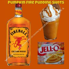 Pumpkin Fire Pudding Shots. See full recipe and more on www.facebook.com/puddingshots1