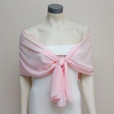 Luxe Carnation Pink Chiffon Pashmina Bridal Shawl Bridal by boubo, $44.00