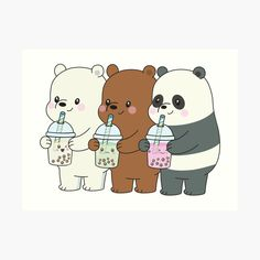 'We Bare Bears' Art Print by plushism Cute Panda Wallpaper, Bear Wallpaper, Cute Disney Wallpaper, Cute Cartoon Wallpapers, Ice Bear We Bare Bears, We Bear, Bear Cubs, Cute Bear Drawings, Kawaii Drawings