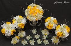 Yellow Beaded Lily Wedding Flower 17 piece set with Yellow and White Roses ~ Unique French beaded flowers and beaded sprays. Includes Bouquets Corsages and Boutonnieres