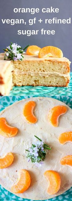 This Gluten-Free Vegan Orange Cake is moist and fluffy, fresh and citrusy and filled with a rich cashew buttercream! Refined sugar free. #vegan #sponge #dairyfree #glutenfree #refinedsugarfree #orange #cake #frosting #baking #dessert