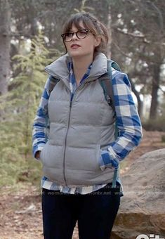 9c9cc8597f Jess s blue gingham checked shirt and puffer vest on New Girl