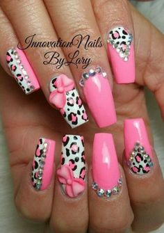 How To Do Acrylic Nails - Pink acrylic nails - Acrylic Nail Designs Glitter, Nail Designs Bling, Bling Acrylic Nails, Nails Design With Rhinestones, Square Acrylic Nails, Cute Nail Designs, Leopard Nail Designs, Stiletto Nails, Diy Nails