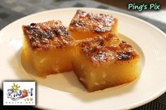 Filipino dessert Bibingka Cassava Can be kind of rubbery and cassava can be challenging to find (look in frozen food section of Asian grocery store) but it is yummy and one small piece is very filling.