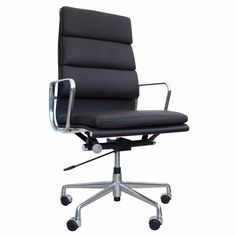 Eames Inspired Soft Pad High Back Office Chair Black Leather for sale Startup Office, High Back Office Chair, Box Design, Eames, Offices, Home Office, Black Leather, Inspired, Ebay