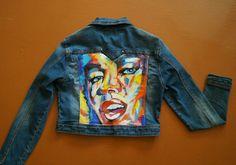 Купить джинсовая курточка - джинсовая куртка, джинсовая ткань, джинс, куртка, роспись по ткани