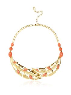 T Tahari Tahiti Coral Leaf Statement Necklace Be inspired by the tropics with this leafy design adorned with smooth beads and demure sparkling crystals; 3