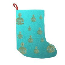 buddha in blue small christmas stocking