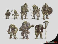 Orc and Goblin Style Guides developed for Final War Alien Character, Character Concept, Character Art, Character Design, Fantasy Races, Fantasy Art, Dnd Orc, Warcraft Orc, Animal Sleeve Tattoo