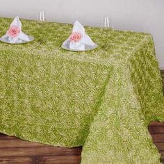 Rosette Tablecloth, Satin Ribbon Roses, Satin Fabric, Green Wedding Decorations, Table Overlays, Bridal Table, Leaf Garland, Ribbon Crafts