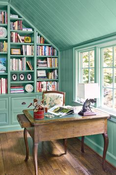 12 Mint Green Rooms - Ideas for Mint Green Home Decor Green Rooms, White Rooms, Turquoise Walls, Green Home Decor, Mint Green Decor, Green Decoration, Decoration Inspiration, Decor Ideas, Home Libraries