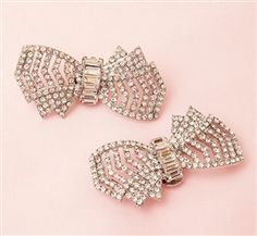 """Absolutely Audrey Rhinestone shoe clip bows """"Jackie"""". Inspired by the Great Gatsby"""