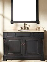 """The 48"""" Catania Single Bath Vanity is one that will fill your bathroom with a charm found nowhere else. Hand crafted out of the best kiln-dried Grade-A oak wood available, this vanity is sure to last for many years to come. The hand applied Antique Black finish adds a sense of warmth and hominess while the 12 step process prevents it from cracking and peeling."""