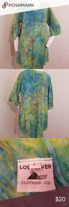L Blue/Green Watercolor Boho Hippie Tunic Top Women's Large Lost River Clothing Blue/Green Watercolor 3/4 Sleeve Boho Gypsy Tunic  This item is pre-owned and in good condition.  Please know your measurements before bidding!  Chest measures: 40 inches relaxed Length: ~32 inches from top of shoulder to longest point of hem.  Comes from a non smoking, pet friendly home!  B-10 Lost River Clothing Co Tops Tunics
