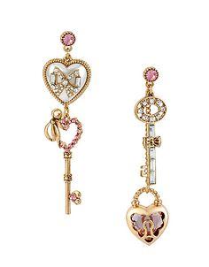 Heart & Key Mismatch Linear Earring