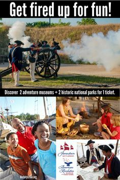 Online budget ticket deals for family vacation: Visit 4 historical venues in Virginia with 1 ticket! Enjoy 7 consecutive days of unlimited admission to Jamestown Settlement, Historic Jamestowne, American Revolution Museum at Yorktown and Yorktown Battlefield. Take a road trip your kids will never forget. Explore interactive exhibits, replicas of 1607 ships, a re-created colonial fort, Powhatan Indian village, Revolution-era farm and Continental Army encampment. historyisfun.org