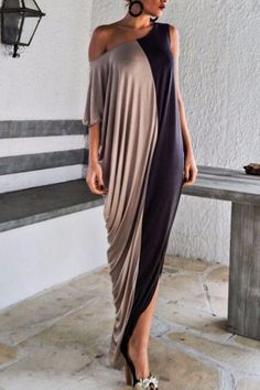 Color Block Fashionable Skew Neck Half Sleeve Maxi Dress For Women
